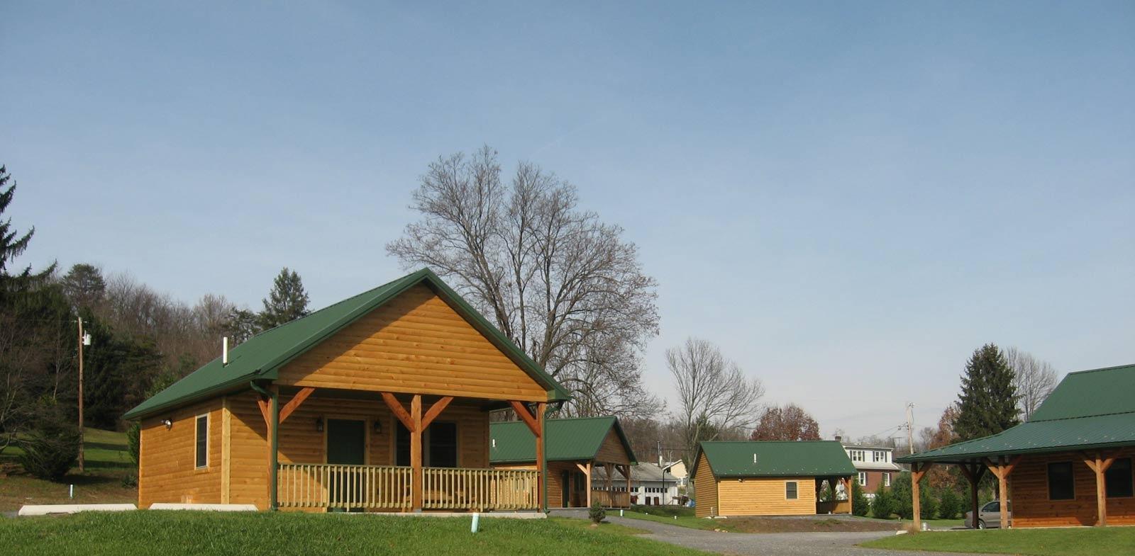 Three cabin exteriors