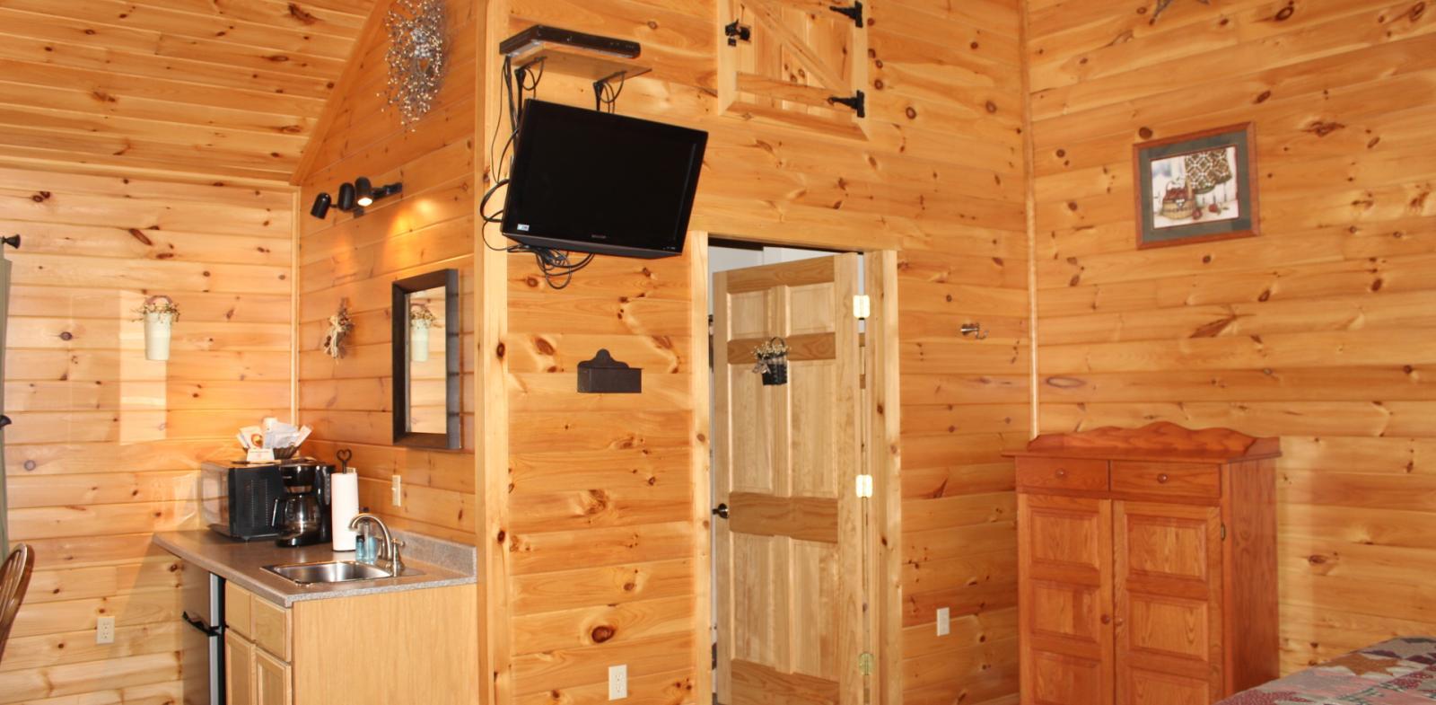 TV and bathroom entrance
